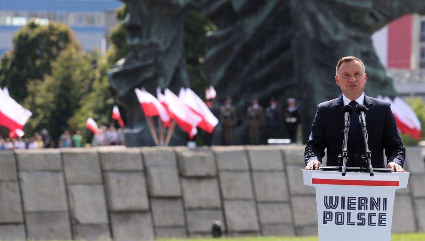 Prezydent Andrzej Duda wskazał, że zakończenie II wojny światowej nie oznaczało końca martyrologii (fot. PAP/Andrzej Grygiel)