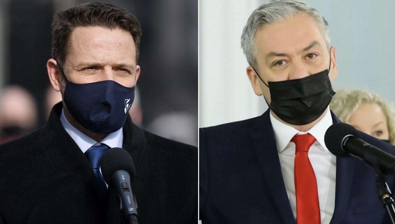 Tajne spotkanie Rafała Trzaskowskiego i Roberta Biedronia (fot. PAP/Marcin Obara, PAP/Rafał Guz)