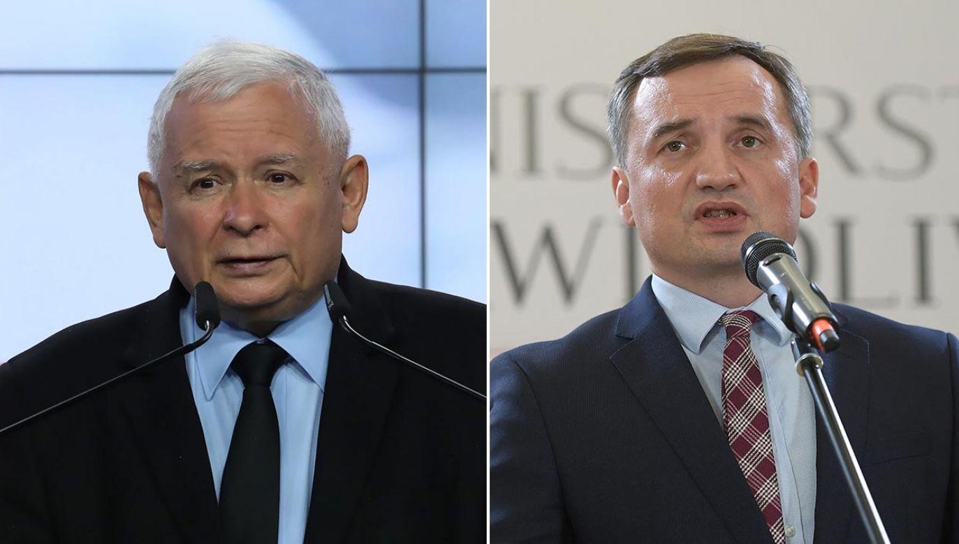 Prezes PiS przedstawił liderowi SP warunki dalszego trwania koalicji (fot. PAP/Tomasz Gzell, Marcin Obara)